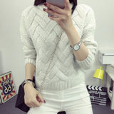 Women Winter Sweaters And Pullovers Plaid Thick Mohair Sweater Loose Jumper