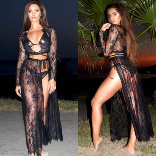 Sexy Lace Floral Two Piece Beach Cover Ups - Lizachic