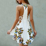Sweet Sleeveless Floral Short Dress - Lizachic