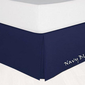 Navy Blue Bed Skirt Solid Comfy Sateen