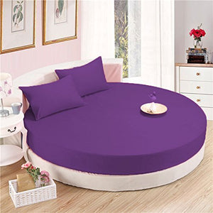 Purple Round Bed Sheets Set Solid Sateen Comfy