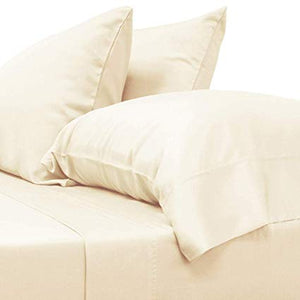 Ivory Fitted Sheet and Pillowcase Bliss Sateen Solid