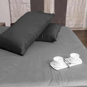 Luxury Dark Grey Pillow Case Solid Comfy Sateen