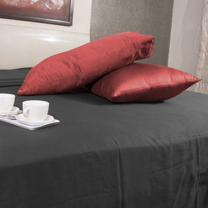 Luxury Comfy Sateen Pillowcase Solid Brick Red