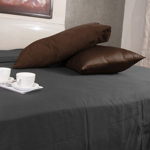 Luxury Comfy Sateen Pillowcase Solid Chocolate