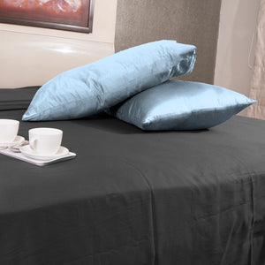 Light Blue Pillowcases Solid Sateen Bliss