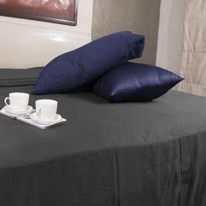 Navy Blue Pillow Case Solid Bliss Sateen