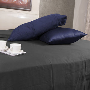 Luxury Comfy Sateen Pillowcase Solid Navy Blue