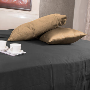 Taupe Pillowcases Solid Sateen Bliss