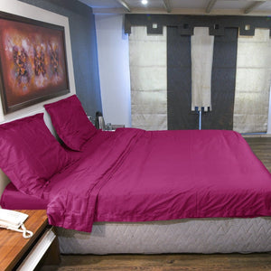 Duvet Cover Set Comfy Solid Sateen Hot Pink
