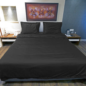 Black Duvet Cover Set Bliss Sateen Solid