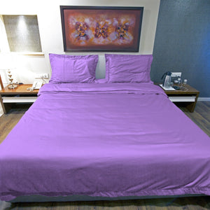 Duvet Cover Set Comfy Solid Sateen Lilac
