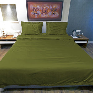 Duvet Cover Set Comfy Solid Sateen Moss