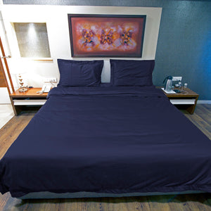 Navy Blue Duvet Cover set Solid Bliss Sateen