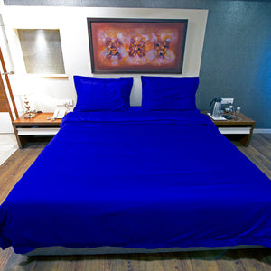 Duvet Cover Set Comfy Sateen Solid Royal Blue