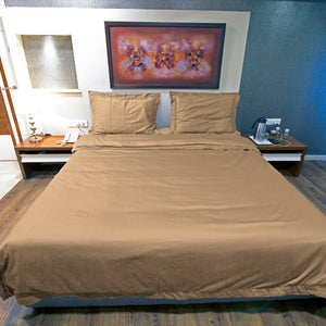 Duvet Cover Set Comfy Solid Sateen Taupe