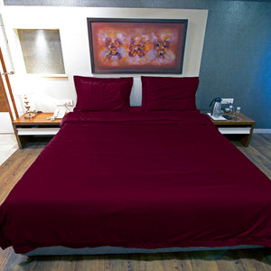 Duvet Cover Set Comfy Solid Sateen Wine