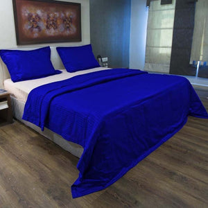 Sateen Comfy Stripe Duvet Cover Set Royal Blue