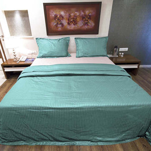 Sateen Comfy Stripe Duvet Cover Set Aqua Blue