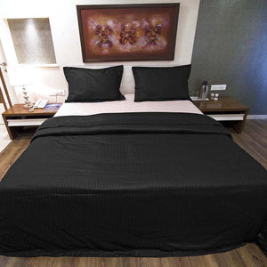 Sateen Comfy Stripe Duvet Cover Set Black