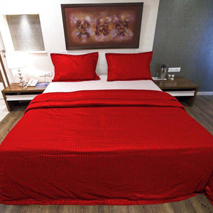 Sateen Comfy Stripe Duvet Cover Set Blood Red