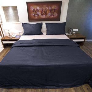 Sateen Comfy Stripe Duvet Cover Set Navy Blue