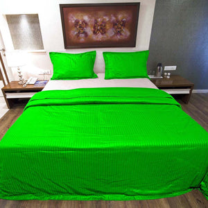 Sateen Comfy Stripe Duvet Cover Set Parrot Green