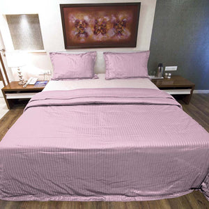 Sateen Comfy Stripe Duvet Cover Set Pink