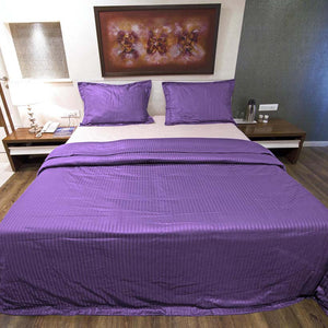 Sateen Comfy Stripe Duvet Cover Set Purple