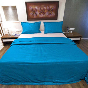 Sateen Comfy Stripe Duvet Cover Set Turquoise
