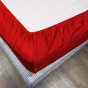 Comfy Solid Sateen Fitted sheet Blood red