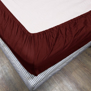 Comfy Fitted Sheet Sateen Solid Burgundy
