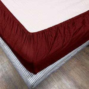 Solid Burgundy Fitted Sheet Bliss Sateen