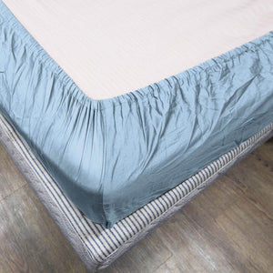 Comfy Solid Light Blue-Sateen Fitted Sheet