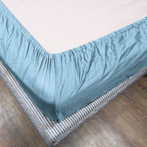 Light Blue Bliss Solid-Sateen Fitted Sheet