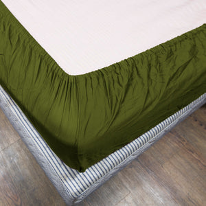 Moss Fitted Sheet Solid Sateen Comfy