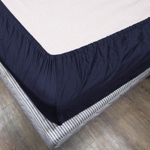 Solid Navy Blue Fitted Sheet Bliss Sateen