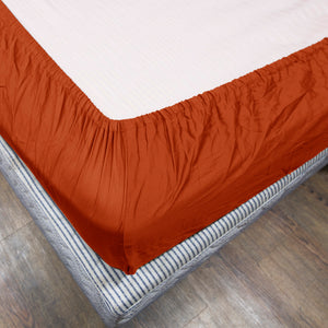Orange Fitted Sheet Solid Sateen Comfy