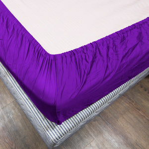 Purple Fitted Sheet Solid Sateen Comfy