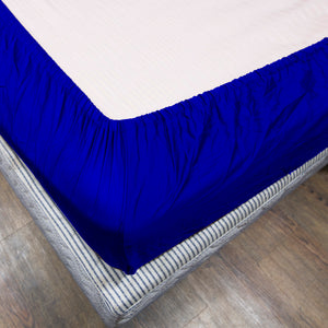 Royal Blue Fitted Sheet Solid Sateen Comfy
