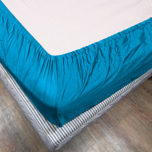 Turquoise Fitted Sheet Solid Sateen Comfy