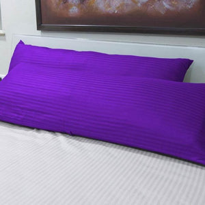 "Stripe-Body Pillow-Cover 20""x 54"" Sateen Purple"