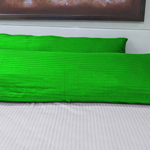 "Stripe-Body Pillow-Cover 20""x 54"" Sateen Parrot Green"