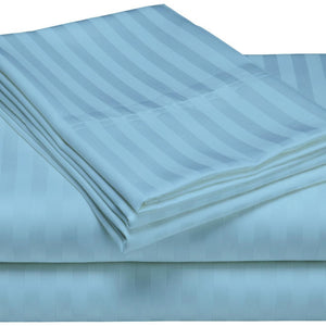 Comfy Stripe Sheet Set Light Blue Sateen