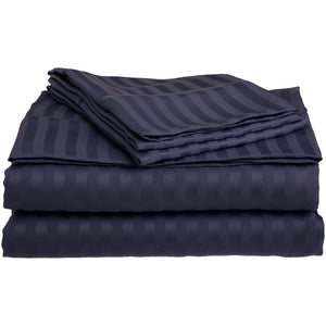 Comfy Stripe Sheet Set Navy Blue Sateen