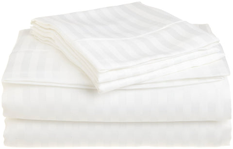 Comfy Stripe Sheet Set White Sateen - aanyalinen