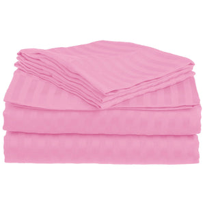 Comfy Stripe Sheet Set Pink Sateen