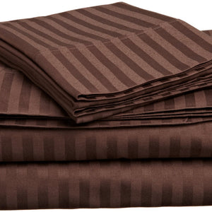 Comfy Stripe Sheet Set Chocolate Sateen