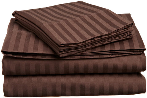 Comfy Stripe Sheet Set Chocolate Sateen - aanyalinen