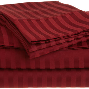 Comfy Stripe Sheet Set Burgundy Sateen